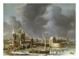 A View of the Regulierspoort, Amsterdam, in Winter Giclee Print by Abraham Beerstraten