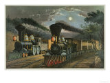 The Lightning Express Trains, 1863 Giclee Print by Currier & Ives