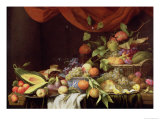 A Still Life of Fruit on a Draped Ledge Giclee Print by Joris van Son