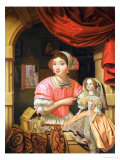 Young woman holding a doll in an interior with a maid sweeping behind Lmina gicle por Edwaert Collier