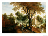 Elegant Horsemen and Figures on a Path in Front of a Chateau Giclee Print by Sebastian Vrancx