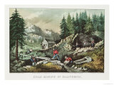 Goldmining in California, 1871 Giclee Print by Currier & Ives