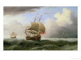 An English Ship Close-Hauled in a Strong Breeze Giclée-Druck von Willem van de Velde