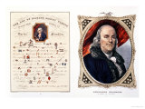 "Benjamin Franklin, Statesman and Philosopher, ""The Art of Making Money Plenty,"" (Puzzle-Homily) Giclee Print by Currier & Ives"