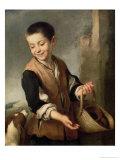 Boy with a Dog, circa 1650 Giclée-tryk af Bartolome Esteban Murillo