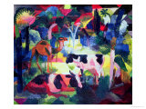 Landscape with Cows and a Camel Giclee Print by Auguste Macke