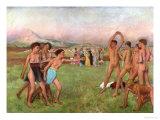Young Spartans Exercising, circa 1860 Giclée-tryk af Edgar Degas