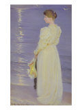 Woman in White on a Beach, 1893 Giclee Print by Peder Severin Kr&#246;yer
