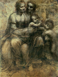 The Virgin and Child with Ss. Anne and John the Baptist, circa 1499 Premium Giclee Print by  Leonardo da Vinci