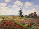 Tulip Fields with the Rijnsburg Windmill, 1886 Giclée-tryk af Claude Monet