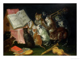 A Musical Gathering of Cats Reproduction proc&#233;d&#233; gicl&#233;e par Ferdinand van Kessel