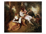 The Scale of Love, 1715-18 Giclee Print by Jean Antoine Watteau