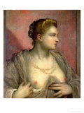 Portrait of a Woman Revealing Her Breasts, circa 1570 Giclee Print by Jacopo Robusti Tintoretto