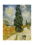 Road with Cypresses, c.1890 Reproduction proc&#233;d&#233; gicl&#233;e par Vincent van Gogh