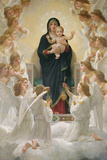 Neitsyt ja enkelit, 1900 Giclee-vedos tekijänä William Adolphe Bouguereau