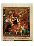 Knights on horseback, an illuminated page from the Crusades of Godefroy de Bouillon Lámina giclée