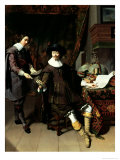 Constantijn Huygens (1596-1687) and His Clerk, 1627 Reproduction proc&#233;d&#233; gicl&#233;e par Thomas de Keyser