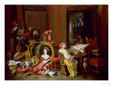 Interior with a Lady at a Harpsichord Giclee Print by Francesco Fieravino