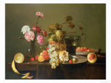 Still Life of Fruit and Flowers Giclee Print by Michiel Simons