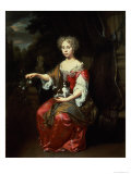 Portrait of a Lady Holding Her Pet King Charles Spaniel Giclee Print by Jan Verkolje