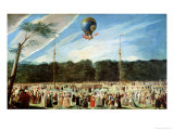 The Ascent of the Montgolfier Balloon at Aranjuez, circa 1764 Giclee Print by Antonio Carnicero