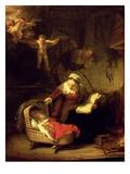 The Holy Family, c.1645 Premium Giclée-tryk af  Rembrandt van Rijn
