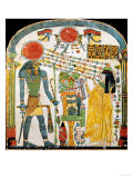 Stele of the Lady Taperet Before Re-Horakhty, circa 1000 BC (Stuccoed & Painted Wood) Giclee Print