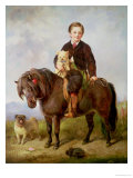 John Samuel Bradford as a Boy Seated on a Shetland Pony with a Pug Dog Giclee Print by Gourlay Steell
