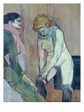 Woman Putting on Her Stocking, or Woman of the House, C.1894 (Oil on Card) Lámina giclée por Henri de Toulouse-Lautrec