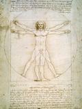 Den vitruviske mann, ca. 1492 Giclée-trykk av  Leonardo da Vinci