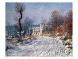 The Road to Giverny, Winter, 1885 Giclée-tryk af Claude Monet