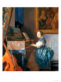 A Young Lady Seated at a Virginal, circa 1670 Reproduction procédé giclée par Jan Vermeer