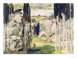 "Stage Set Design for Act I of ""Daphnis and Chloe"" by Maurice Ravel Giclee Print by Leon Bakst"