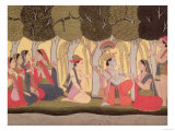 Radha and Krishna Seated in a Grove, Kulu, Himachal Pradesh, Pahari School, 1790-1800 Giclee Print