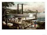Loading Cotton on the Mississippi, 1870 Reproduction procédé giclée par Currier & Ives