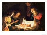 The Nativity Giclée-tryk af Gerrit van Honthorst