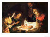 The Nativity Premium Giclee Print by Gerrit van Honthorst