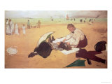 Beach Scene: Little Girl Having Her Hair Combed by Her Nanny, circa 1876-77 Giclee Print by Edgar Degas