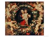 Virgin with a Garland of Flowers, circa 1618-20 Giclee Print by Peter Paul Rubens