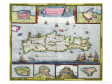 Map of the Island of Candia (Crete) with the Sea Port of Herakleion, circa 1680 Art Print