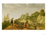 Fisherman Unloading and Selling Their Catch on a Rocky Shoreline Giclee Print by Adam Willaerts