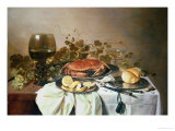 Breakfast still life with roemer and a crab Lámina giclée por Pieter Claesz