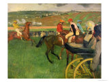 The Race Course, Amateur Jockeys Near a Carriage, circa 1876-87 Giclee Print by Edgar Degas