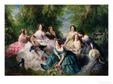 Portrait of Empress Eugenie Surrounded by Her Maids of Honor, 1855 Giclee Print by Franz Xavier Winterhalter