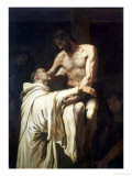 Christ Embracing St. Bernard Reproduction procédé giclée par Francisco Ribalta
