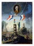 An Allegory of the Revolution with a Portrait Medallion of Jean-Jacques Rousseau (1712-78) 1794 Giclee Print by Nicolas Henry Jeaurat de Bertry