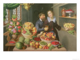 Man and Woman Before a Table Laid with Fruits and Vegetables Giclee Print by Georg Flegel