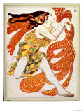 """Kostymedesign for en Bacchante i """"Narcisse"""" av Tcherepnin, 1911 Giclée-trykk av Leon Bakst"""