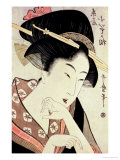 Bust Portrait of the Heroine Kioto of the Itoya Premium Giclee Print by Kitagawa Utamaro