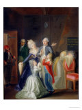 Farewell to Louis XVI by His Family in the Temple, 20th January 1793 Giclee Print by Jean-Jacques Hauer